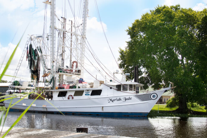 Kimberly and David Chauvin's shrimp boat Mariah Jade. Plate-frozen is a focus of their processing operation. (Photo credit: George Graham)