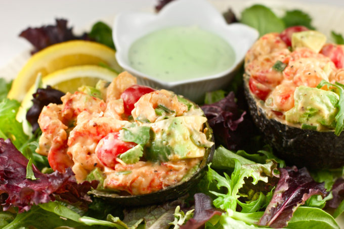 Crawfish Stuffed Avocado -- a light, summer salad. (All photos credit: George Graham)