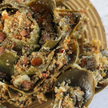 Crabmeat-Stuffed Artichoke
