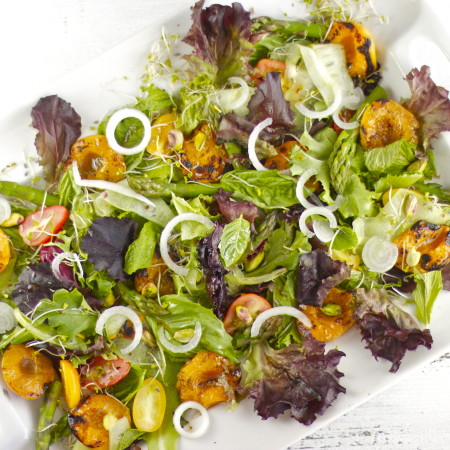 Grilled Apricot and Herb Salad