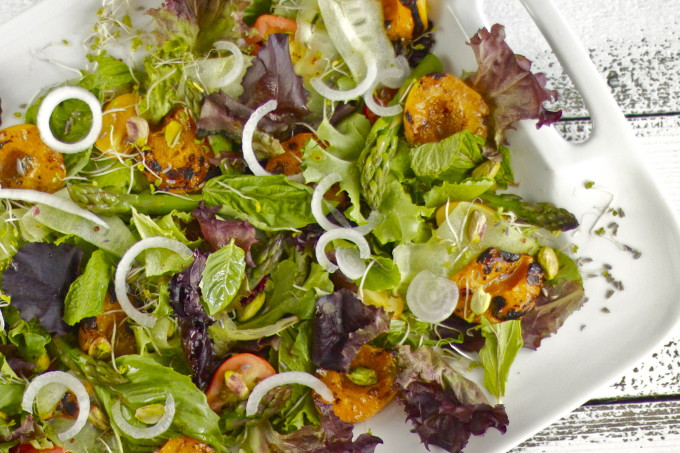 Grilled Apricot and Herb Salad is a fresh Southern recipe.