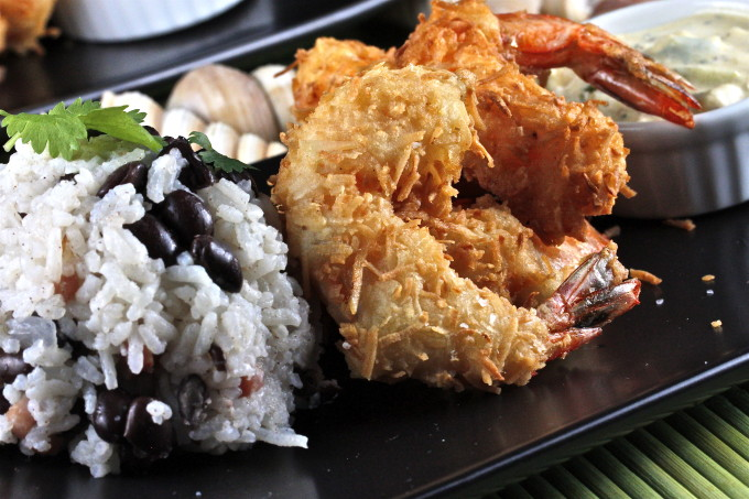 Coconut Shrimp with Cilantro Mango Cream and Jasmine Rice and Beans is as good as any Cajun recipe