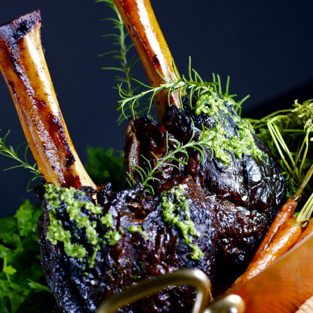 Braised Beef Shanks with Parsley Pecan Pesto