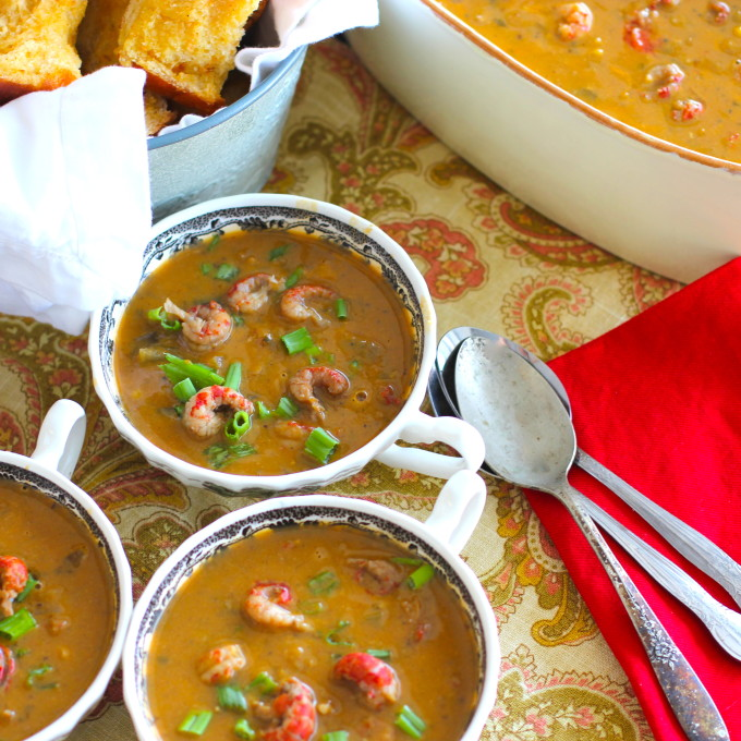 Crawfish and Pumpkin Bisque -- new flavors for a rural Cajun recipe.