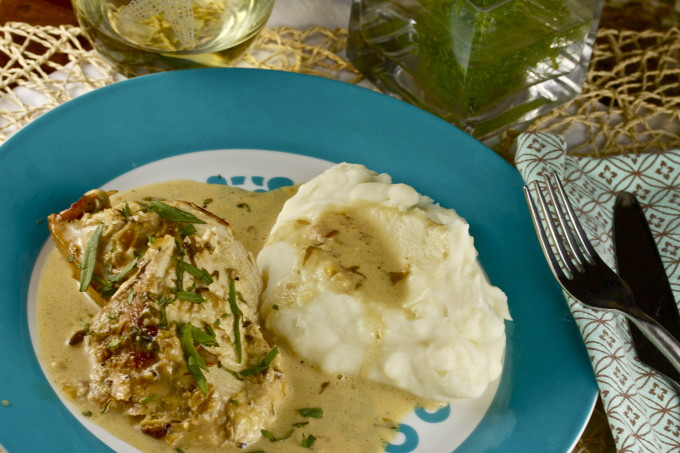 Chicken Braised in Tarragon Cream becomes an elegant Cajun recipe.