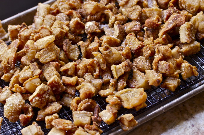 Cracklin' on rack--a traditional Cajun recipe.