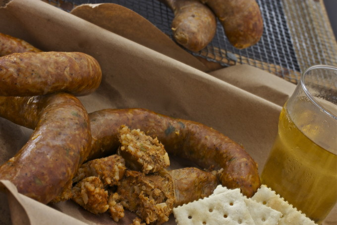 Boudin and Beer-- a Cajun recipe for lunch.