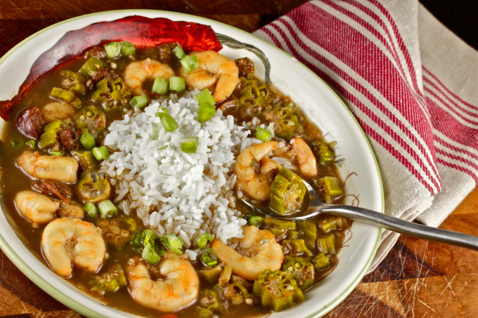 Shrimp and Okra Gumbo -- a classic merging of Cajun recipe and Creole recipe into one tasty dish.
