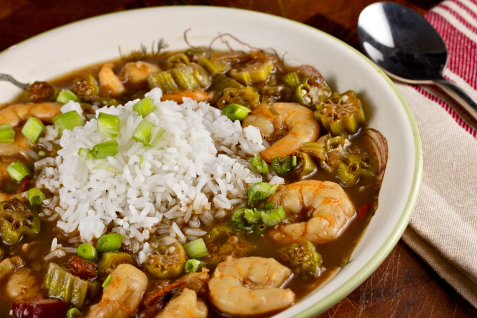 Shrimp and Okra Gumbo--a Cajun recipe marries with a Creole recipe.