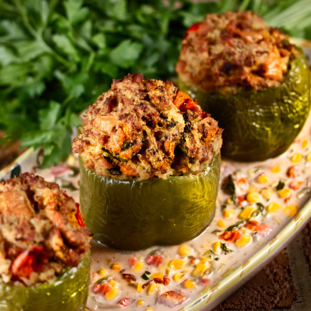 Chicken-Stuffed Bell Peppers with Maque Choux Sauce