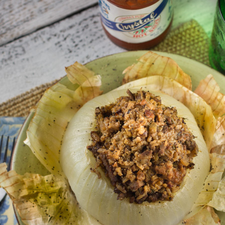 Dirty Rice Stuffed Onions