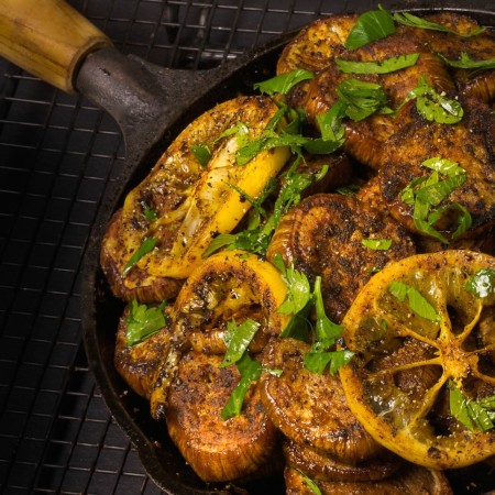 Spicy Griddled Eggplant with Meyer Lemon Parsley Vinaigrette
