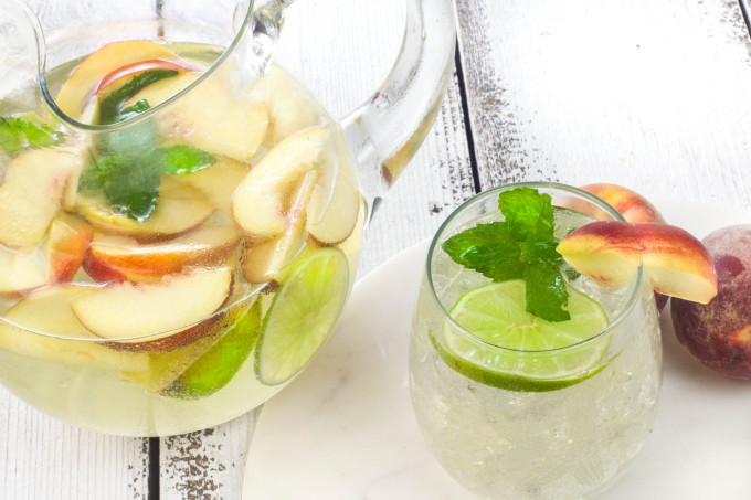 Peach Muscadine Sangria is a summer Cajun recipe for a cocktail.