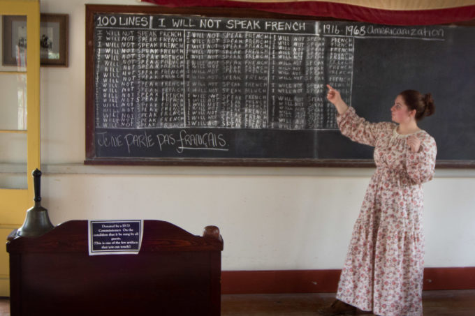 Children were forbidden to speak French as reenacted in this Vermilionville school room.