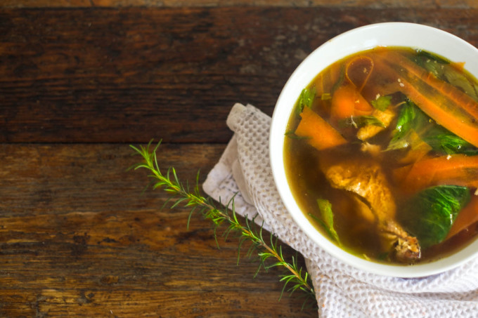 A rich dark stock is the key to this Cajun recipe for Acadiana Chicken Soup. (All photos credit: George Graham)