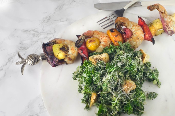 Kale Caesar with Grilled Shrimp