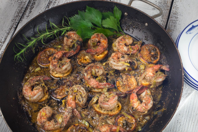 Cajun Shrimp Skillet: Jumbo shrimp bathed in a buttery bath of herbs and spices; the perfect appetizer skillet. (All photos credit: George Graham)