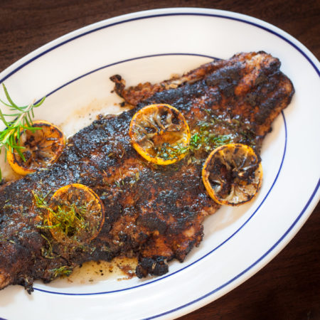 Blackened Catfish with Lemon Rosemary Sauce