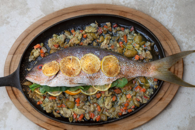 Baked Yellowtail Snapper--prepped and ready to bake in this easy Cajun recipe.