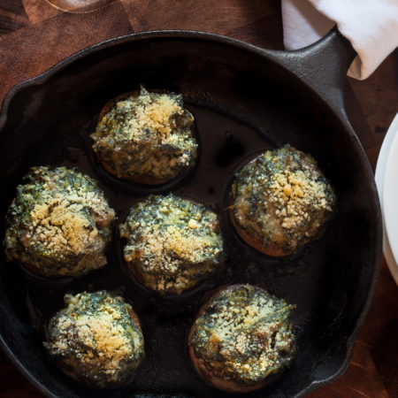 Stuffed with spinach, oysters, and pepper jack cheese, these mushrooms are packed with flavor.  (All photos credit: George Graham)