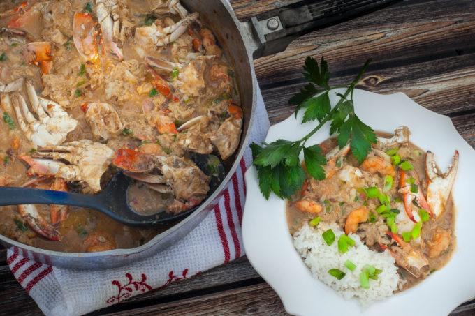 Crab Étouffée made from fresh Vermilion Bay crabs is a timeless Cajun recipe from the Louisiana coast. (All photos credit: George Graham)