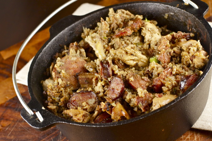 A black pot of rural Cajun pork jambalaya is a traditional Cajun recipe. (All photos credit: George Graham)