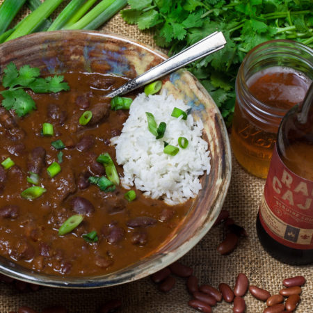 Hearty red bean chili stewed down in Ragin' Cajun beer is served up! (All photos credit: George Graham)