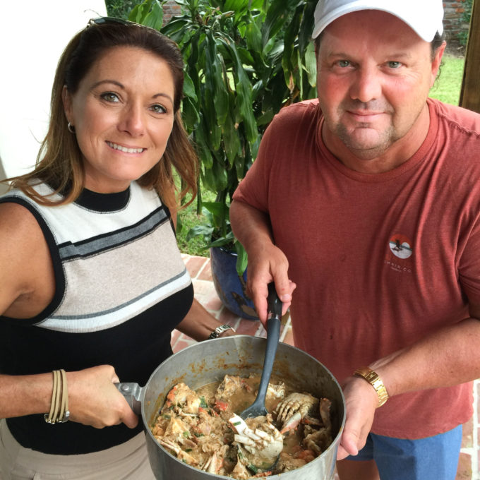 Walter Hidalgo and his wife Danielle serve up their famous crab étouffée--a classic Cajun recipe.