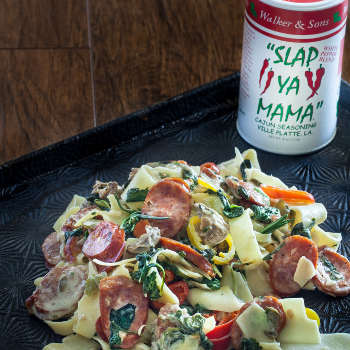The white pepper blend seasoning from Slap Ya Mama adds just the right spice to this Cajun recipe for Oyster Pastalaya.