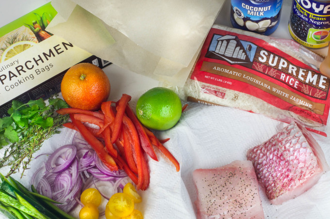 Snapper en Papillote Ingredients in a simple Cajun recipe.