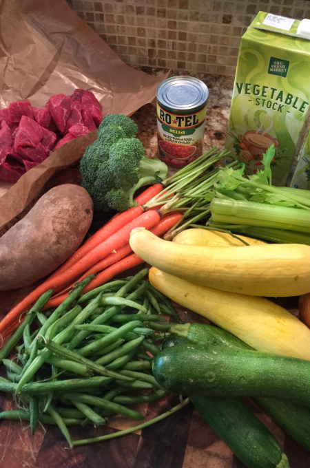 vegetable-soup-ingredients for a hearty Cajun recipe.