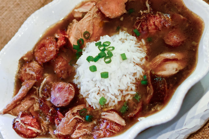 Chicken and smoked sausage gumbo worth begging for. (All photos credit: George Graham)