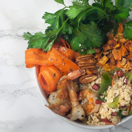 Constructed with farm-fresh Louisiana ingredients, this rice bowl brings home the Cajun flavor.  (All photos credit: George Graham)