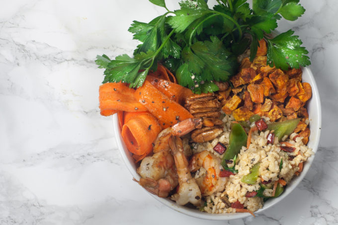 Constructed with farm-fresh Louisiana ingredients, this Cajun Rice Bowl brings home the bayou flavor. (All photos credit: George Graham)
