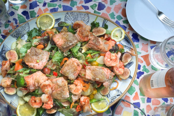 Salmon and Shrimp Salad with a garden of vegetables combine in the perfect summer salad.