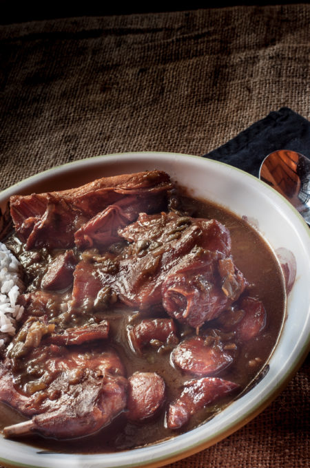 Smoked Rabbit Gumbo is Cajun roots cooking.