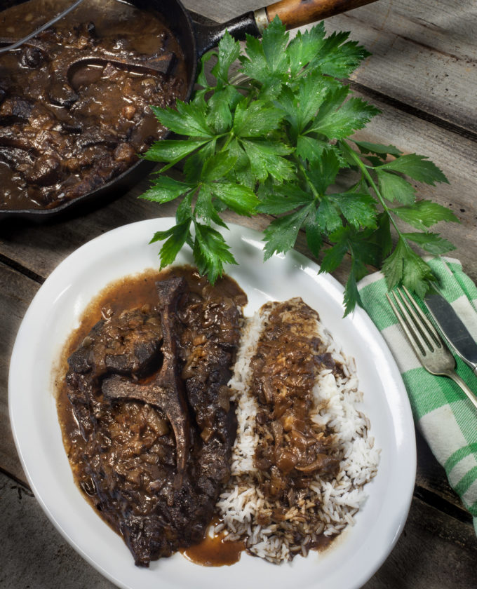 Seven steak and gravy is traditional Cajun cooking.