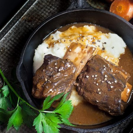 The rich, earthy flavors of beef ribs bathed in a dark coffee-infused gravy. (All photos credit: George Graham)