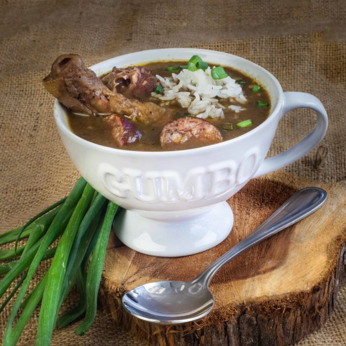Served up steaming hot in your own personal gumbo mug, my Chicken Leg and Sausage Gumbo recipe is easy when made with Rox's Roux.