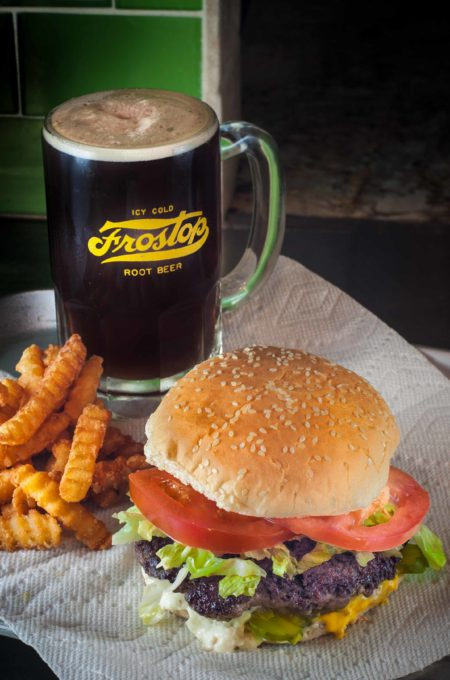Root beer in a cold mug and The Lot-O-Burger is a winning combination no matter what the decade.