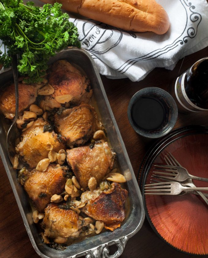 As at home on a Provencal farmhouse table as on your Acadiana table, it's Chicken with 40 Cloves of Garlic.