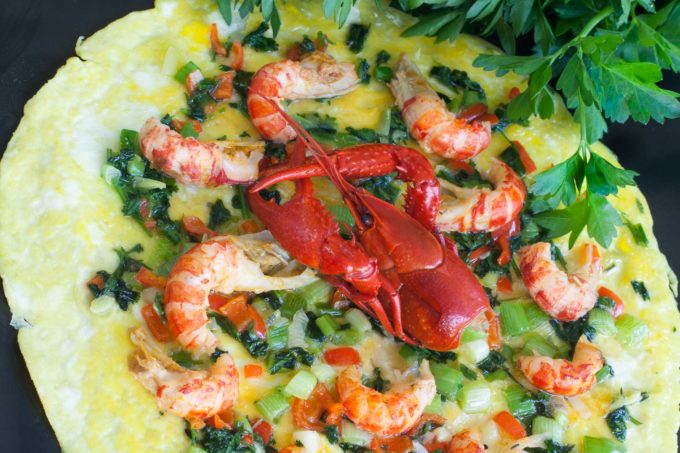 This open-face Crawfish Omelette layers on the flavor. (All photos credit: George Graham)