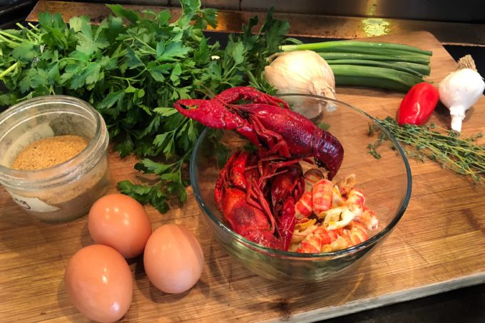 Just a few ingredients combine in a tasty Crawfish Omelette.