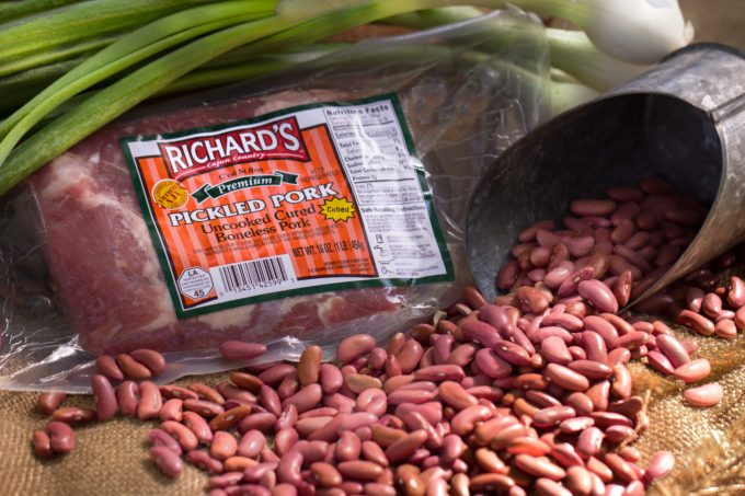 Richard's Cajun Foods' Pickled Pork adds meaty flavor to my Backyard Beans.