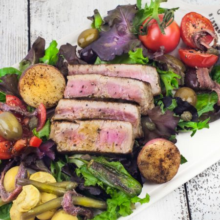 Grilled Tuna Salad Nicoise with Creole Citrus Vinaigrette
