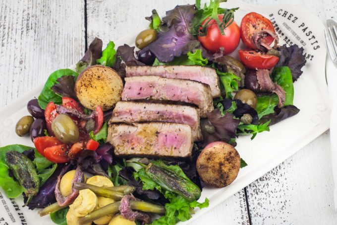 Grilled Tuna Salad Nicoise--A light and healthy summer salad.