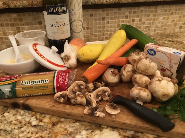Fresh ingredients splashed with Marsala wine for a tasty Chicken Marsala.