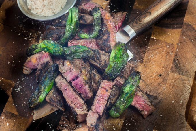 Brushed with nutty brown butter, this skillfully cooked ribeye pairs perfectly with my mild shishito peppers. (All photos credit: George Graham)