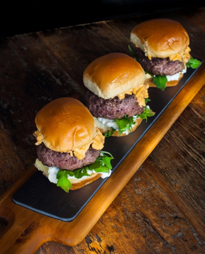 Wagyu Beef Sliders on Brioche Bun with Jalapeño Pimento Cheese