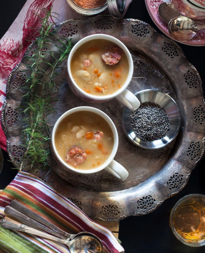 Warm up to a bowl of Andouille Sausage and White Bean Soup.